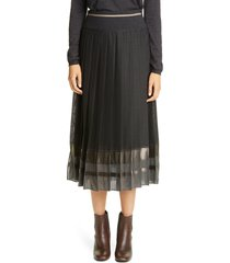 women's brunello cucinelli metallic stripe pleated midi skirt