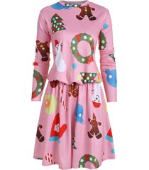 christmas tree snowman drop waist dress