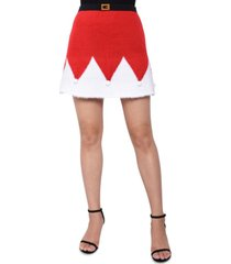 planet gold juniors' santa sweater mini skirt