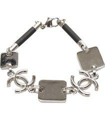 chanel cc metal bracelet silver sz: