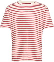 classic stripe tee t-shirts short-sleeved röd folk