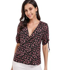 blusa floral lazo mangas negro nicopoly