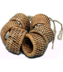 artifacts trading company rattan 6-piece oval napkin ring set
