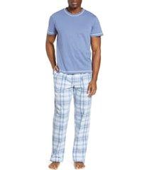men's majestic international check mates pajamas, size medium - blue