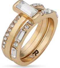 rachel rachel roy gold-tone crystal attached trio-ring