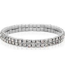2028 silver-tone clear crystal 2-row rhinestone stretch bracelet