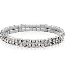 2028 silver-tone clear crystal 2-row rhinestone stretch bracelet