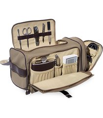 14-piece suede & stainless steel travel tote bag
