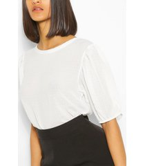 crinkle balloon sleeve top, white
