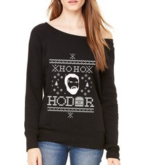 ho ho hodor funny ugly christmas sweater of shoulder sweatshirt