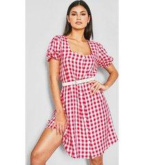 geruite jurk met vierkante hals, warm roze