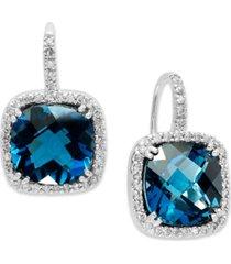 14k white gold earrings, london blue topaz (10 ct. t.w.) and diamond (1/3 ct. t.w.) leverback earrings