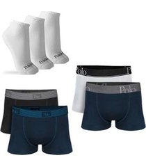 kit com 4 cuecas cotton premium e 3 pares de meias cano curto - polo match masculino - masculino
