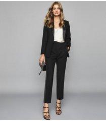 reiss hailey - wool blend tuxedo trousers in black, womens, size 10