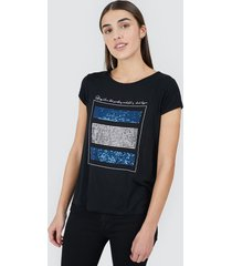 camiseta mujer lentejuelas color negro, talla l