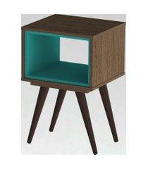 mesa lateral retrô 40 rustik olivar marrom/azul