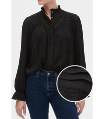 blusa con encaje negro gap