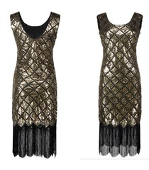 women 20s charleston flapper costume sequin fringe 1920s gatsby dress size s-xl