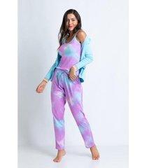 conjunto de pijama acuo longo ribana e malha doce nuvem feminino