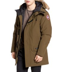 men's canada goose langford slim fit down parka with genuine coyote fur trim, size x-large - green