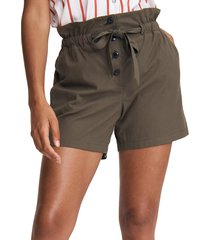 rag & bone women's camille seersucker paperbag shorts - dark olive - size 2