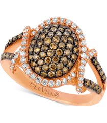 le vian chocolatier diamond oval cluster ring (1 ct. t.w.) in 14k rose gold