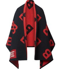 burberry reversible b motif wool cashmere blanket cape - black