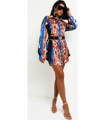 akira patchwork print satin mini dress
