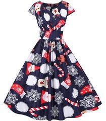 christmas santa claus elk snowflake surplice dress