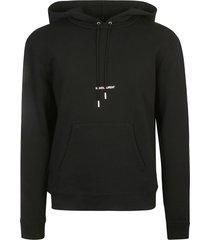 saint laurent centre logo printed hoodie
