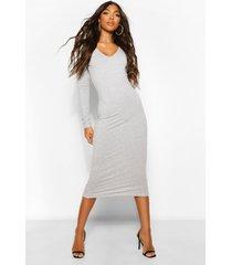 tall basic katoenen midi jurk met v-hals, grey