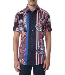 robert graham men's otis paisley & stripe sport shirt - black multi - size l