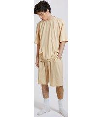 koyye conjunto de pijama de cintura elástica de manga corta con bolsillo grande liso para hombre