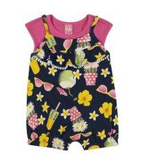 conjunto blusa + macaquinho kinha em meia malha e cotton alto veráo marinho escuro
