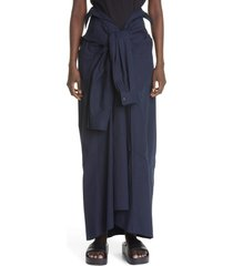 women's balenciaga tied up high waist poplin skirt, size 6 us - blue
