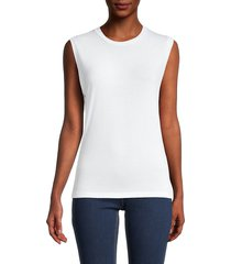 majestic filatures women's soft touch muscle tank top - white - size 1 (xs)