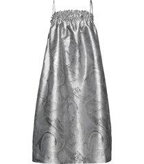 shiny jacquard knälång kjol silver ganni