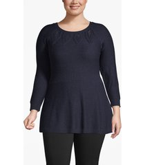 lane bryant women's peplum pointelle tunic sweater 14/16 dark water