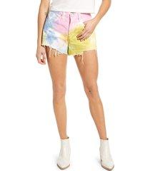 women's blanknyc the barrow tie dye high waist denim shorts
