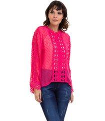 blusa kinara chiffon renda vazada pink - rosa - feminino - poliã©ster - dafiti