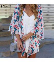 zanzea para mujer de la manga del batwing de la impresión floral de túnica remata la blusa cardiagn coats plus -blanco