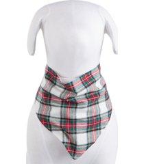 matching pet stewart plaid family pajamas bandana, created for macy's
