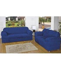 capa de sofá brastuca 2 peças 21 elásticos azul