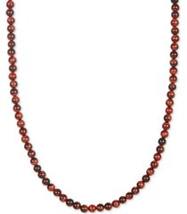 """esquire men's jewelry red tiger's eye beaded 30"""" necklace, created for macy's"""