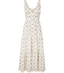 a.l.c. embroidered flared midi dress - multicolour