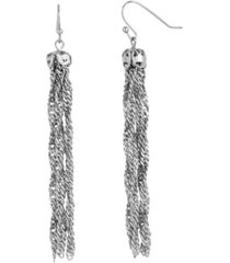 2028 women's silver tone chain tassel earrings