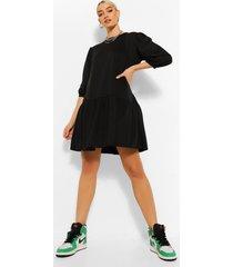 sweatshirt jurk met pofmouwen en losvallende zoom, black