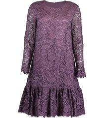 corded lace amethyst long sleeve ruffle hem dress