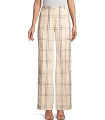 lafayette 148 new york women's winthrop plaid trousers - sand - size 6