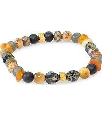 jean claude men's spiritual mantra mix goldplated vermeil, sterling silver & multi-stone stretch bracelet